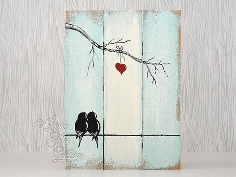 Love Birds on a Wire Painting on Reclaimed Wood - Linda Fehlen Gallery
