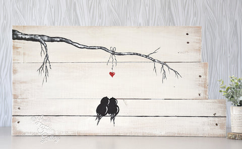 rustic farmhouse style love bird painting