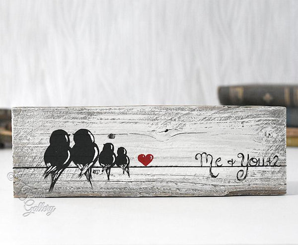 Family of Four Gallery Wall Art - Farmhouse Style Love Birds Painting on Rustic Wood