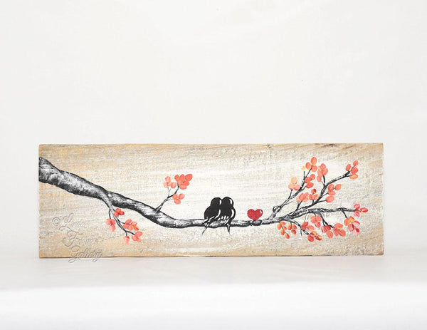 Personalized Wood Sign - Love Bird Painting with Orange Leaves - Linda Fehlen Gallery