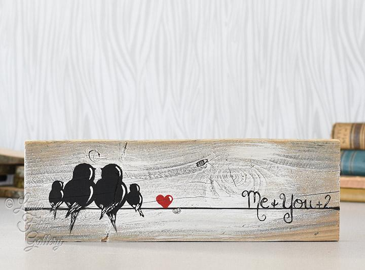 Family Of Four Gallery Wall Art Farmhouse Style Love Birds Painting On Rustic Wood