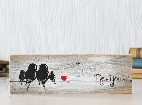 Birds on a Wire - Farmhouse Style Love Birds Painting on Rustic Wood