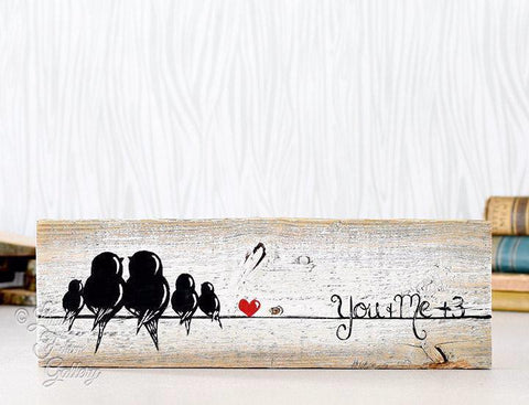 Family of Five Wood Wall Decor - Farmhouse Style Love Birds Painting on Rustic Wood