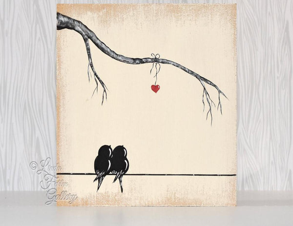 perfect 5th anniversary gift - love birds on a wire with initials