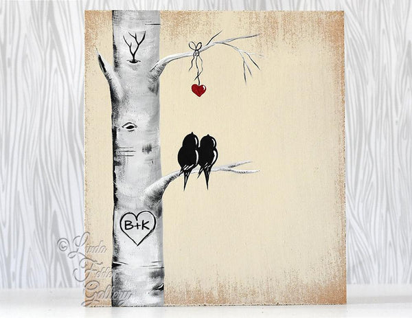 Love Birds in Tree Painting on Wood - A Perfect 5th Anniversary Gift!