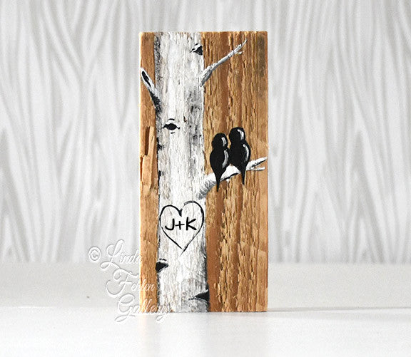 birch tree love birds painting on wood