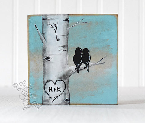 Winter Birch Tree Love Birds- Art Block, Shelf Sitter