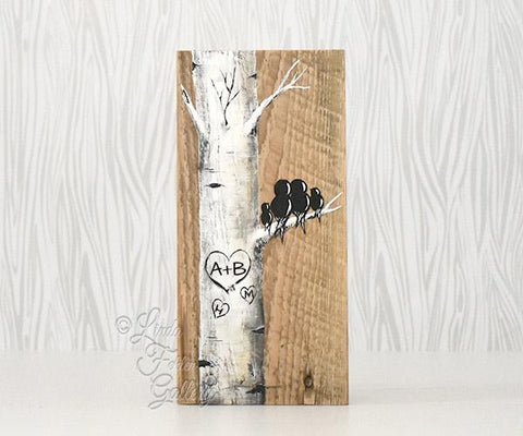 birch tree painting with love birds