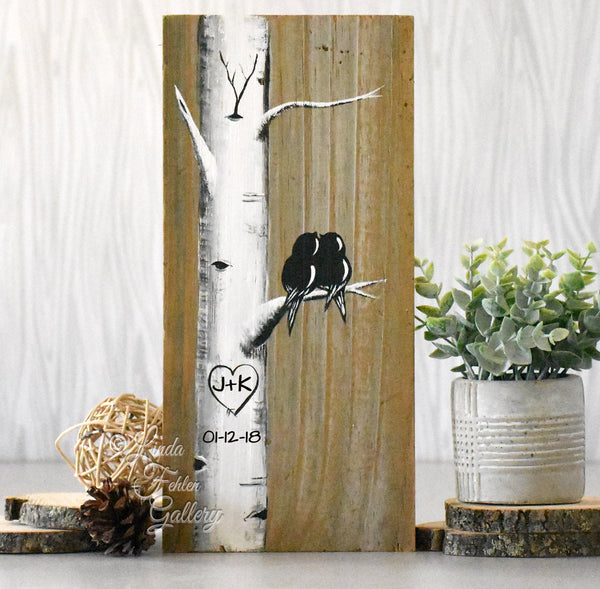 Wood 5th Anniversary Gift for Him or Her - Personalized Painting of Love Birds in Birch Tree - Linda Fehlen Gallery