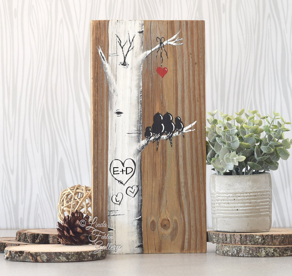 Family of Four Wood Art - Aspen Tree Painting with Love Birds