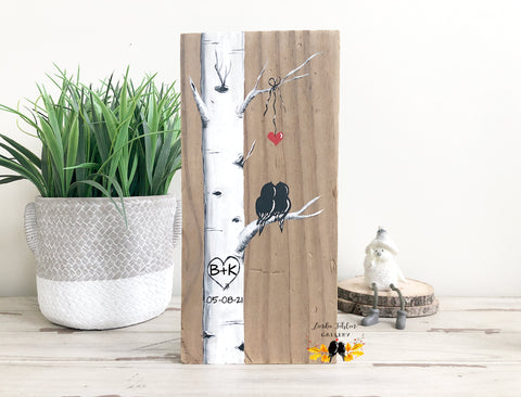 5th Anniversary Gift for Him or Her - Personalized Painting of Love Birds in Birch Tree