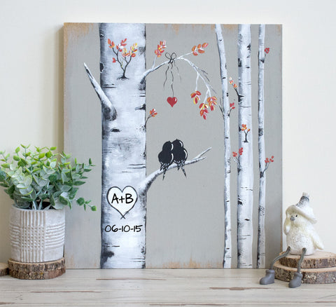 "Personalized Aspen Tree Painting with initials ""carved"" in a Heart 