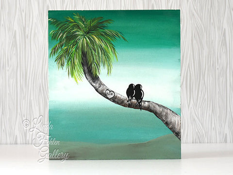 Tropical Love Birds Painting / Palm tree Painting / Beach Themed Art - Linda Fehlen Gallery