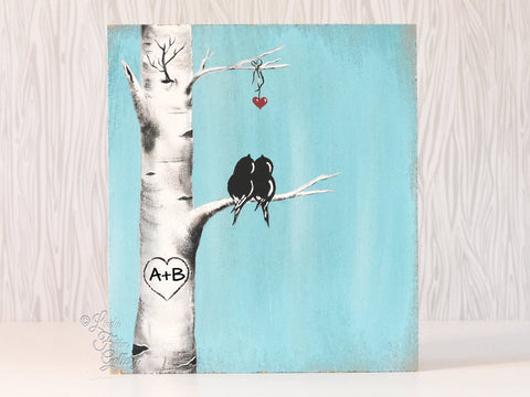Birch tree painting with love birds 5th anniversary gift aspen tree painting