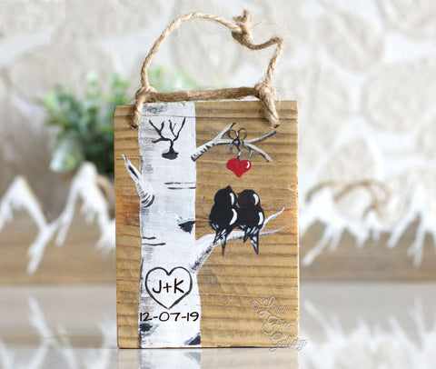 Wood Personalized Ornament - Colorado Aspen Tree with Birds Painting
