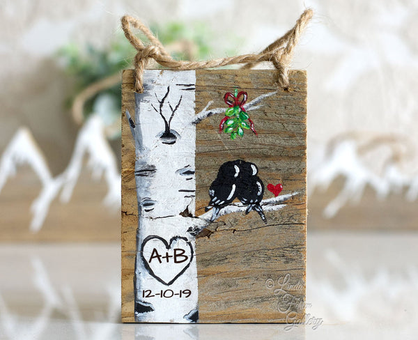 Wood Personalized Ornament - Colorado Aspen Tree with Birds Painting - Linda Fehlen Gallery