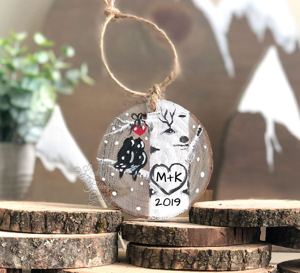 Personalized Painting of Lovebirds in Birch Tree Ornament - Linda Fehlen Gallery