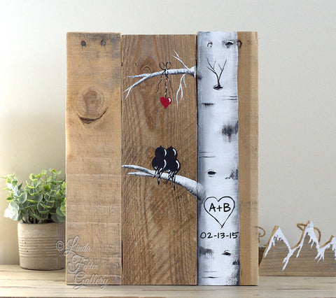 Rustic Farmhouse Style Love Birds in Aspen / Birch Tree Painting on Reclaimed Wood