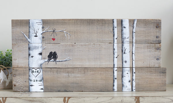 Rustic Farmhouse Style Love Birds in Birch Tree Painting on Reclaimed Wood - Linda Fehlen Gallery
