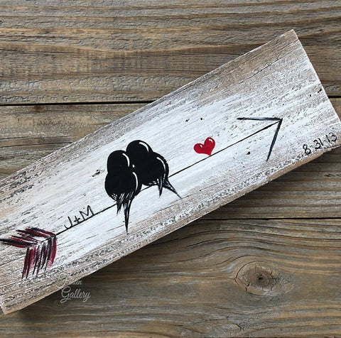 Birds on an arrow - Farmhouse Style Love Birds Painting on Rustic Wood
