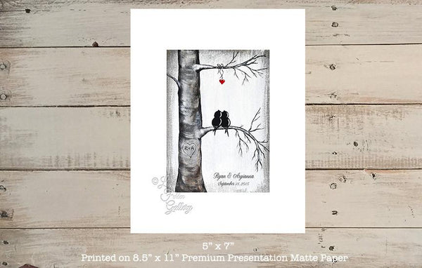 Love Birds in Tree with Heart -Personalized Art Print, 1st Anniversary Gift - Linda Fehlen Gallery