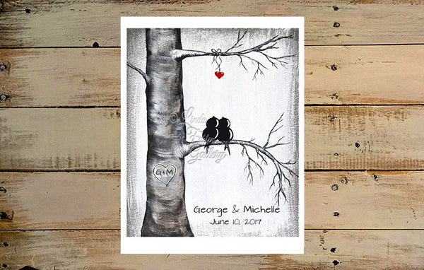 Black White and Red Art with love birds in tree