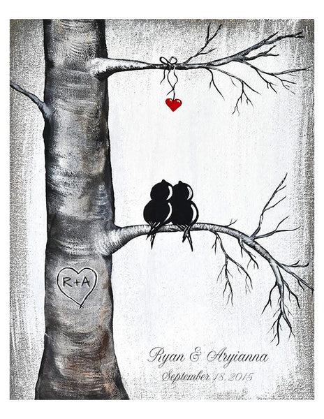 Love Birds in Tree with Heart -Personalized Art Print, 1st Anniversary Gift