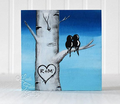Love Birds on Blue