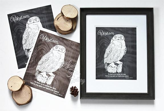 Owl Print with Wisdom Quote - Bible Verse Psalm 90:12