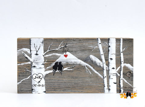 Colorado Aspen Tree Forest Painting with Love Birds and Initials Carved in Heart - Unique 5th Anniversary Gift for Him - Linda Fehlen Gallery