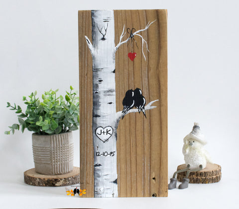 Wood Wedding Gift for Couples - Aspen Tree Painting with Love Birds - Linda Fehlen Gallery