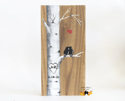5th Anniversary Gift for Him or Her - Personalized Painting of Love Birds in Birch Tree - Linda Fehlen Gallery