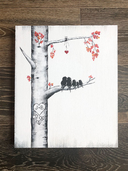 "Personalized Birch Tree Painting with initials ""carved"" in a Heart 
