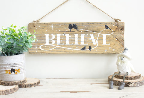 BELIEVE Christmas Sign on Natural Reclaimed Wood - Linda Fehlen Gallery