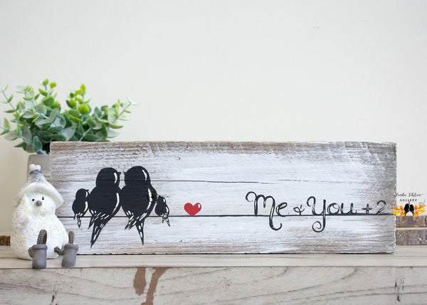 Family of Four Gallery Wall Art - Love Birds Painting on Rustic Wood - Linda Fehlen Gallery