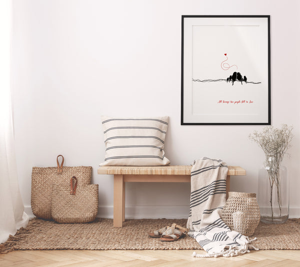 Minimalist Printable Wall Art of a Family of Six Little Birds, Digital Download Art - Linda Fehlen Gallery