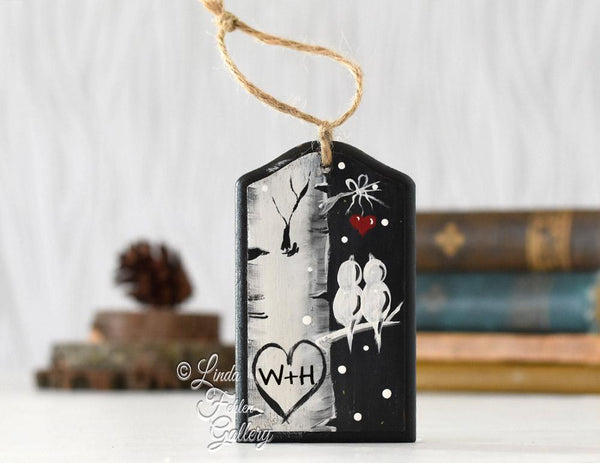 Black and White Farmhouse Style Christmas Ornament for Couple