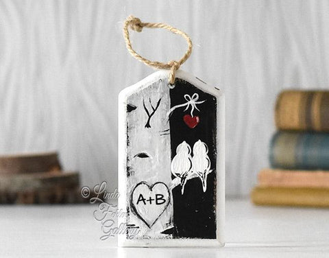 Farmhouse Style Christmas Ornament for Couple - Wood Ornament with Snow and Birds