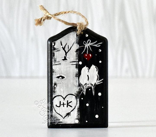 Black and White Wood Ornament
