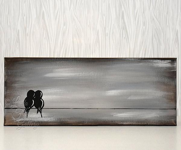 Rustic canvas art custom love birds painting