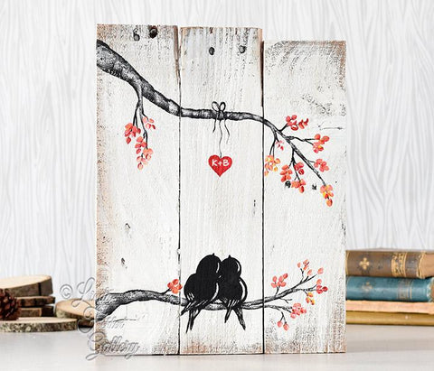 Love Bird Painting on Reclaimed Wood
