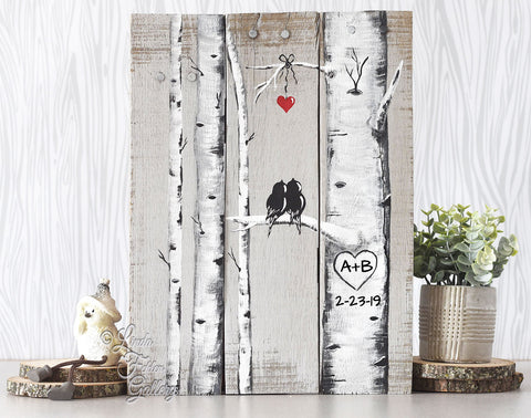 Rustic Farmhouse Style Love Birds on Birch Tree Painting on Reclaimed Wood - Linda Fehlen Gallery