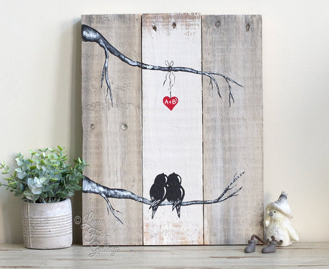 Love Birds in a Tree - Painting on Reclaimed Wood - Linda Fehlen Gallery