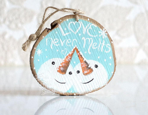 Love Never Melts - Rustic Snowman Ornament - Linda Fehlen Gallery