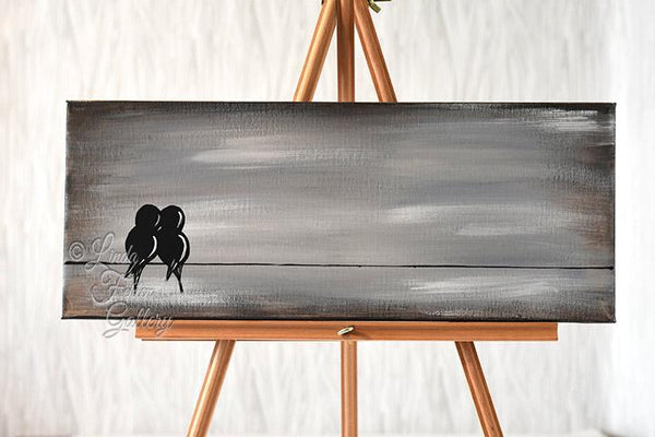 canvas painting with love birds on a wire