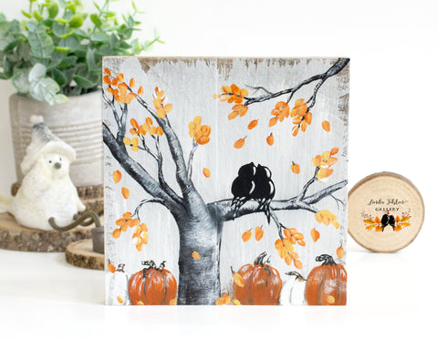 Rustic Wood Sign with Fall Colored Leaves and Pumpkins - Wood Fall Decor - Linda Fehlen Gallery