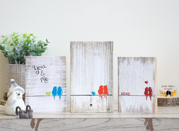 You and Me Love Birds on Rustic Wood - Reclaimed Wood Sign - Linda Fehlen Gallery