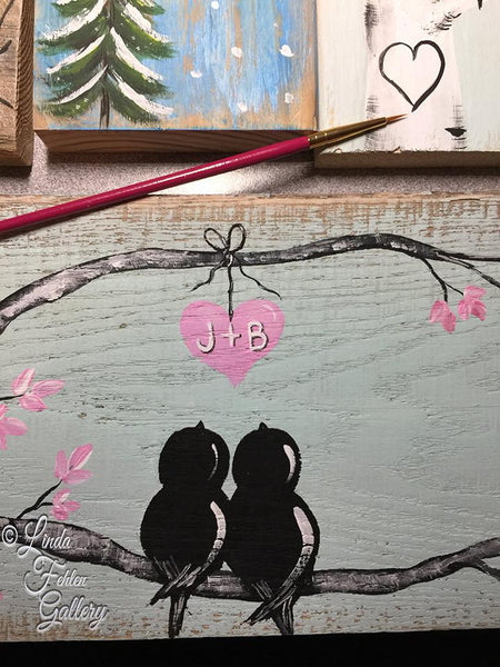 Custom Personalized Mint and Pink Love Bird Painting on Wood