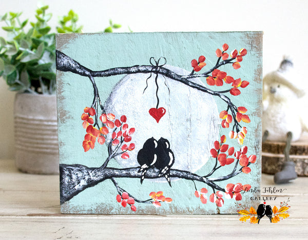 Small Reclaimed Wood Painting of Love Birds on a Tree Branch - Linda Fehlen Gallery