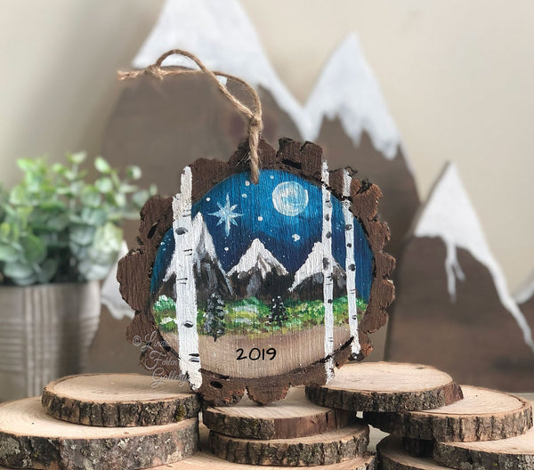 Hand Painted Mountains Ornament with Aspen Trees - Linda Fehlen Gallery